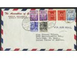 A 1951 cover franked with a mixture of definitives, including a 1949 Dutch administration 20s, a 1950 25s and a pair of 12.5s with 'RIS' overprints for the United States of Indonesia, and 10s and 15s values from the 1951 series of the Indonesian republic